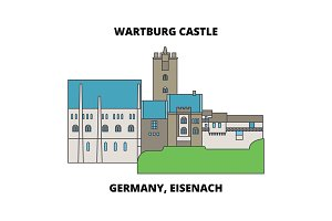Germany, Eisenach  Wartburg Castle line icon concept. Germany, Eisenach  Wartburg Castle flat vector sign, symbol, illustration.