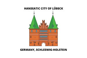 Germany, Schleswig-Holstein, Hanseatic City Of Lubeck  line icon concept. Germany, Schleswig-Holstein, Hanseatic City Of Lubeck  flat vector sign, symbol, illustration.