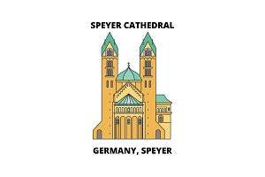 Germany, Speyer, Speyer Cathedral line icon concept. Germany, Speyer, Speyer Cathedral flat vector sign, symbol, illustration.