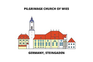 Germany, Steingaden, Pilgrimage Church Of Wies line icon concept. Germany, Steingaden, Pilgrimage Church Of Wies flat vector sign, symbol, illustration.