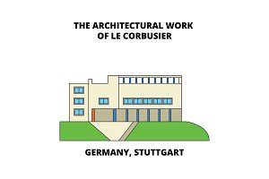 Germany, Stuttgart, The Architectural Work Of Le Corbusier line icon concept. Germany, Stuttgart, The Architectural Work Of Le Corbusier flat vector sign, symbol, illustration.