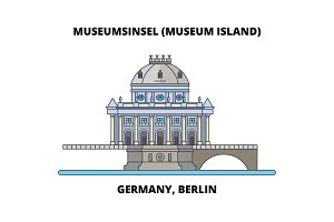 Germany, Berlin, Museum Island line icon concept. Germany, Berlin, Museum Island flat vector sign, symbol, illustration.