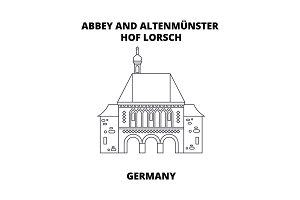 Abbey, Lorsch, Germany line icon concept. Abbey, Lorsch, Germany linear vector sign, symbol, illustration.