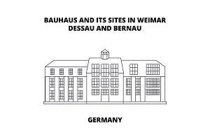 Bauhaus, Dessau, Germany line icon concept. Bauhaus, Dessau, Germany linear vector sign, symbol, illustration.