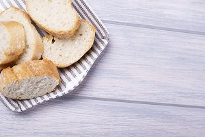 Slices of bread on tray. Food