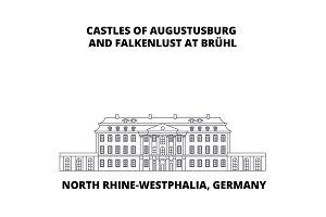 Castles Of Augustusburg Westphalia  Germany line icon concept. Castles Of Augustusburg Westphalia  Germany linear vector sign, symbol, illustration.