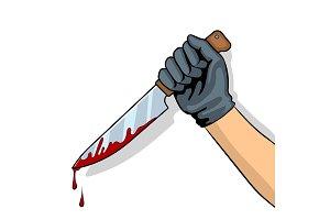 Bloody knife in hand pop art vector illustration