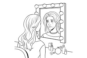 Crying actress woman near mirror coloring vector