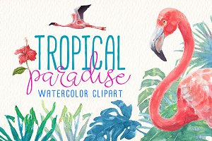 Tropical paradise watercolor clipart