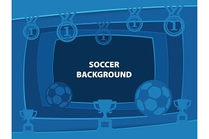 Soccer Abstract background with paper cut shapes
