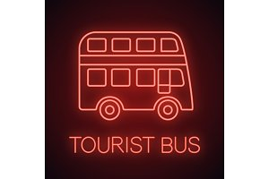 Double decker bus neon light icon