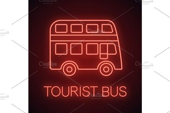Double decker bus neon light icon