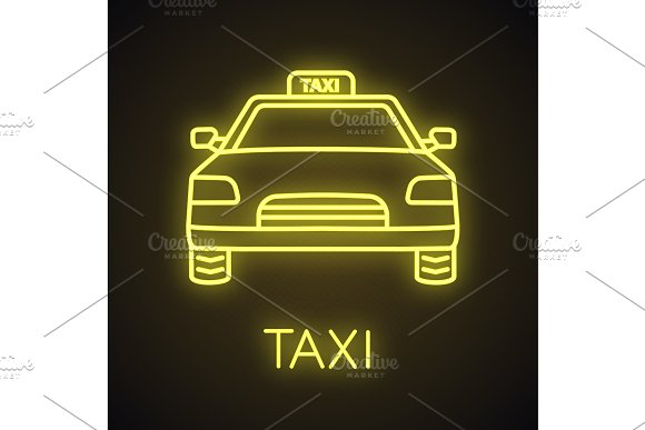 Taxi neon light icon