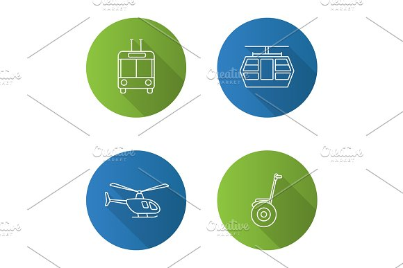 Public transport flat linear long shadow icons set