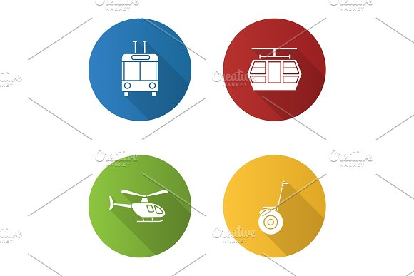 Public transport flat design long shadow glyph icons set in Graphics