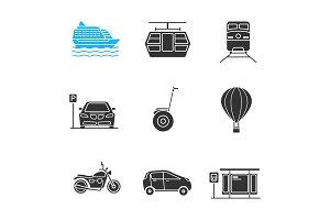 Public transport glyph icons set