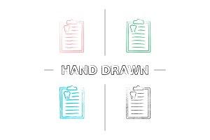 Teeth diagnostic report hand drawn icons set