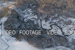 Winter landscape with forest, river. Winter landscape.