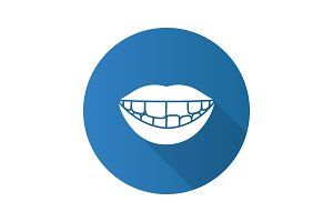 Smile with missing tooth flat design long shadow glyph icon