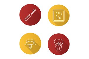 Dentistry flat linear long shadow icons set