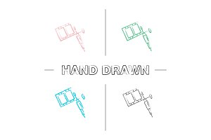 Tattoo machine hand drawn icons set
