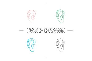 Helix piercing hoop hand drawn icons set