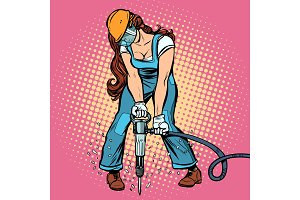 woman road worker jackhammer