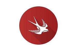 Swallow bird flat design long shadow glyph icon