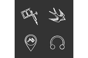 Tattoo studio chalk icons set