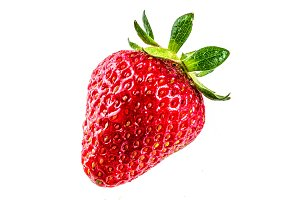 Raw strawberry on white bg