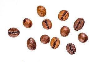 Coffee beans on white bg