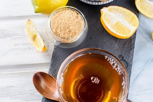 Cup Hot tea with lemon