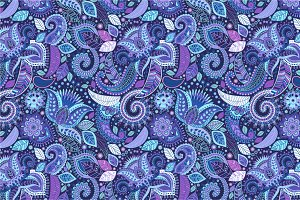 Floral Blue Paisley Pattern