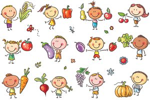 Kids with Fruits and Vegetables