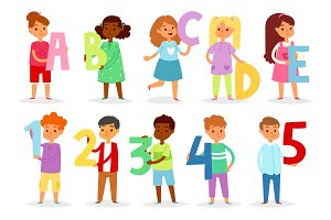 Kids alphabet vector cartoon children font and boy or girl character holding alphabetic letter or number illustration alphabetically set of childish lettering abcde isolated on white background
