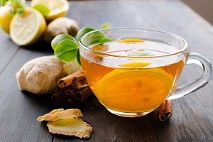 Cup Hot tea with lemon and ginger