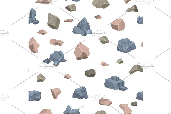 Stone rock vector rockstone of rocky mountain in Rockies mountainous cliff with stony geological materials and stoniness minerals illustration set seamless pattern background