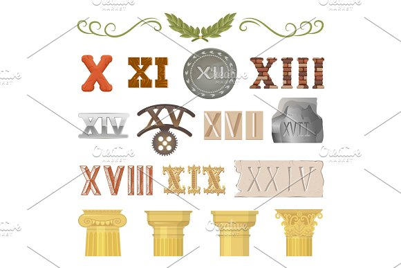 Ancient vector historical antique architecture of rome empire and roman numbers illustration ancientry set of historic vintage column or pillar and numeral isolated on white background