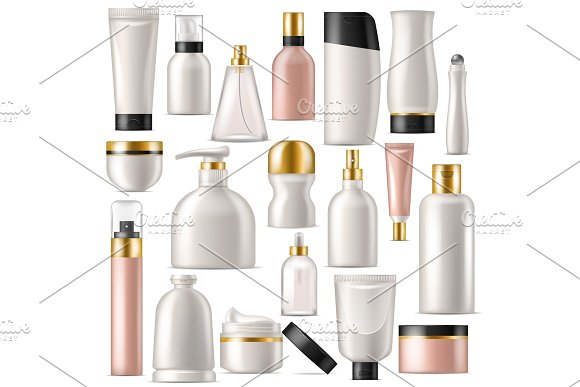 Cosmetic product vector skincare cream bottle template and tube or container mockup for cosmetology illustration set of branded lotion package isolated on white background