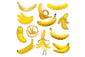 Banana vector yellow tropical fruit or healthy fruity snack of organic food diet illustration set of cartoon bananas emoticon isolated on white background