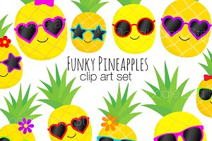 Funky Pineapple Clipart Designs