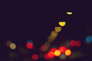 Colourful citylights bokeh night