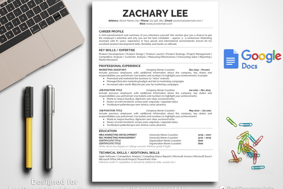Simple Resume Template Google Docs Templates Creative Market