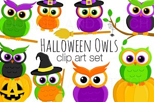 Halloween Owls Clipart Designs