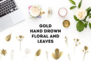 GOLD Hand Drown floral and leaves