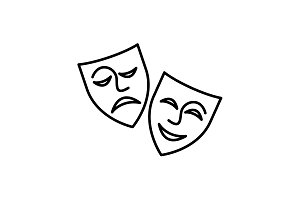 Web icon. Theater masks