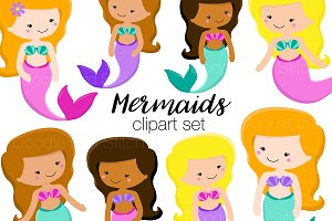 Cute Mermaids Clipart Illustrations