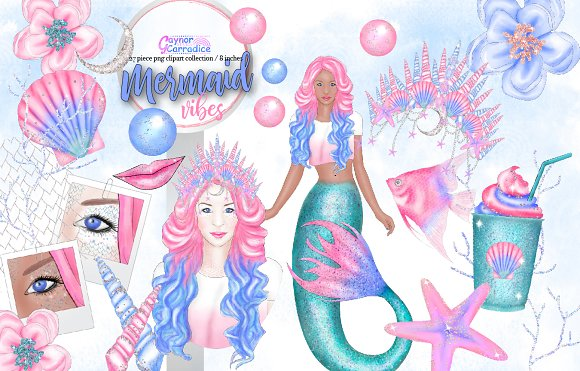 Mermaid Vibes Clipart Collection
