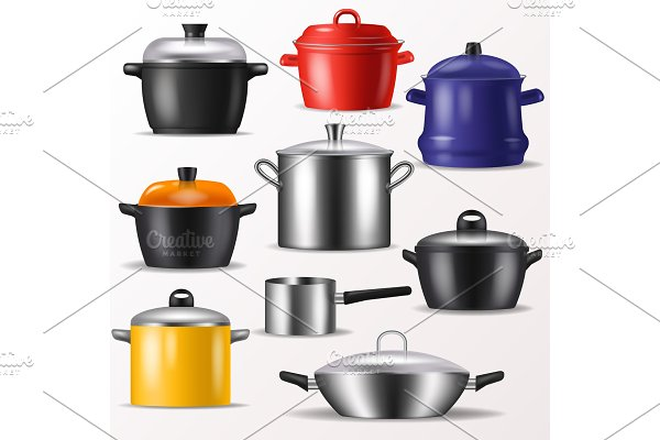 Pan vector kitchenware or cookware for cooking food and kitchen utensil illustration set of dishware and frying-pan or pot isolated on white background