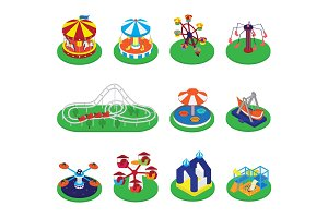 Carousel vector merry-go-round or roundabout and carnival circus icons of amusement park illustration set of round attraction carousels isolated on white background